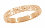 Art Deco Flowers and Leaves Carved Wedding Band in 14 Karat Rose ( Pink ) Gold