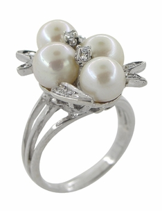 Vintage Pearl and Diamond Retro Moderne Cluster Cocktail Ring in 14 Karat White Gold - Click to enlarge