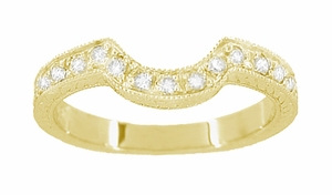 Art Deco Diamond Engraved Wheat Curved Wedding Band in 18 Karat Yellow Gold - Item WR178YD - Image 1