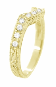Art Deco Diamond Engraved Wheat Curved Wedding Band in 18 Karat Yellow Gold - Item WR178YD - Image 2