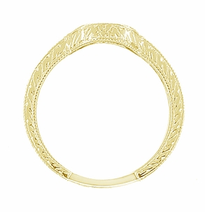 Art Deco Diamond Engraved Wheat Curved Wedding Band in 18 Karat Yellow Gold - Click to enlarge