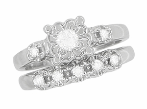 Retro Moderne Lucky Clover White Sapphire Engagement Ring and Wedding Ring Set in 14 Karat White Gold - Click to enlarge