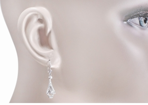 Art Deco 18 Karat White Gold and Diamond Drop Earrings - Item E122 - Image 1
