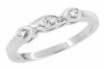 Retro Moderne Raindrop White Sapphire Filigree Wedding Ring in 14 Karat White Gold