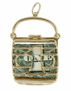 Mad Money Opening Purse Charm in 14 Karat Yellow Gold - Item C635 - Image 1