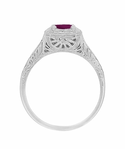 Filigree Scrolls Art Deco Engraved Rhodolite Garnet Engagement Ring in 14 Karat White Gold - Click to enlarge