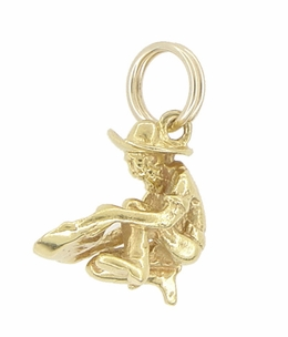 Vintage Gold Miner Charm in 10 Karat Yellow Gold - Item C552 - Image 1
