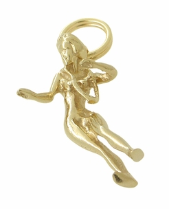 Antique Hula Girl Charm in 14 Karat Gold - Item C425 - Image 1