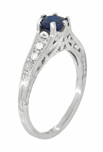 Art Deco Blue Sapphire and Diamonds Filigree Engagement Ring in 14 Karat White Gold - Click to enlarge