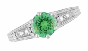 Antique Deco Style Filigree Spearmint Green Tourmaline and Diamond Engagement Ring in 14 Karat White Gold - Item R158TO - Image 3