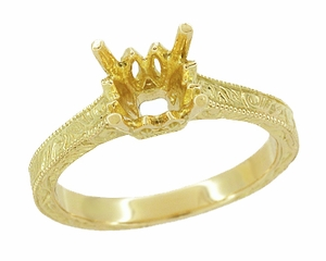 Art Deco 1 - 1.50 Carat Crown Scrolls Filigree Engagement Ring Setting in 18K Yellow Gold - Item R199PRY1 - Image 1
