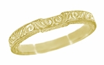 Art Deco Scrolls Contoured Engraved Wedding Band in 18 Karat Yellow Gold
