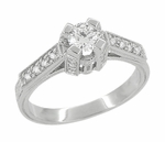 Art Deco 1/2 Carat Diamond Engraved Scrolls Castle Engagement Ring in Platinum