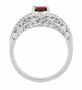 Edwardian Filigree Flowers Almandite Garnet Dome Engagement Ring in 14 Karat White Gold - Click to enlarge