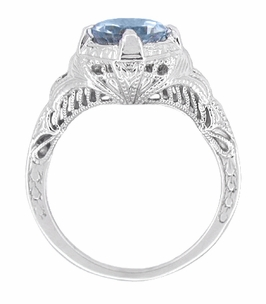 Art Deco Sky Blue Topaz Engraved Filigree Engagement Ring in Sterling Silver - Click to enlarge