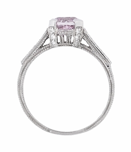 Art Deco 1 Carat Pink Tourmaline Castle Engagement Ring in Platinum - Item R673PT - Image 4