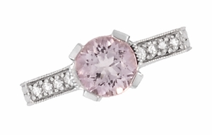 Art Deco 1 Carat Pink Tourmaline Castle Engagement Ring in Platinum - Click to enlarge
