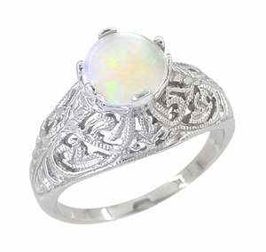 Edwardian Filigree Opal Ring in Sterling Silver - Item SSR137o - Image 1