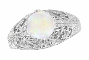 Edwardian Filigree Opal Ring in Sterling Silver - Item SSR137o - Image 2