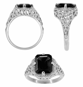Art Deco Flowers and Leaves Black Onyx Filigree Ring in Sterling Silver - Click to enlarge