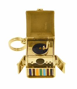 Movable Record Player Charm in 14 Karat Yellow Gold - Click to enlarge