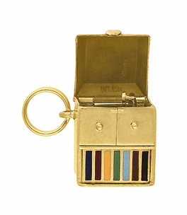Movable Record Player Charm in 14 Karat Yellow Gold - Item C689 - Image 2