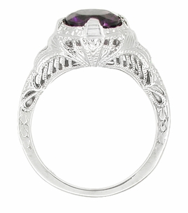Art Deco Amethyst Engraved Filigree Ring in Sterling Silver - Item SSR161AM - Image 1