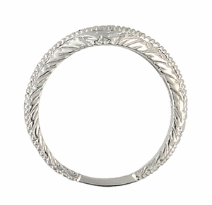 Curved Engraved Wheat Art Deco Diamond Wedding Band in Platinum - Click to enlarge