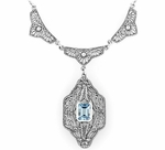 Art Deco Filigree Antique Style Blue Topaz Dangle Drop Pendant Necklace in Sterling Silver