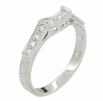Art Deco Platinum and Diamond Filigree Wedding Ring
