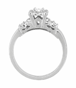 Retro Moderne Lucky Clover Diamond Engagement Ring in Platinum - Click to enlarge