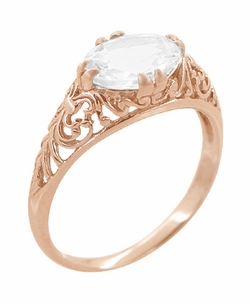 Edwardian Oval White Sapphire Filigree Engagement Ring in 14 Karat Rose Gold ( Pink Gold ) - Item R799RWS - Image 1