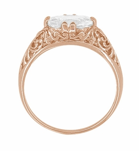 Edwardian Oval White Sapphire Filigree Engagement Ring in 14 Karat Rose Gold ( Pink Gold ) - Click to enlarge