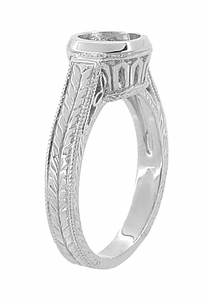 Art Deco 1 Carat Filigree Engraved Wheat Halo Engagement Ring Bezel Setting in 18 Karat White Gold - Click to enlarge