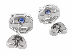 Art Deco Blue Sapphire Stud Earrings in 18 Karat White Gold - Item E152 - Image 2