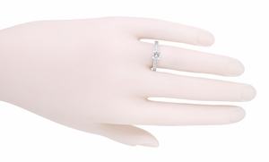 Engraved Art Deco Diamond Engagement Ring in 18 Karat White Gold - Click to enlarge