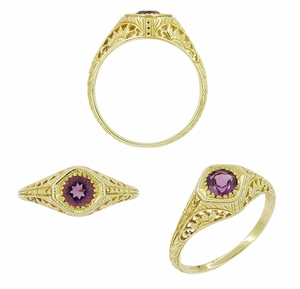 Art Deco Amethyst Filigree Ring in 14 Karat Yellow Gold - Click to enlarge