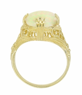 Art Deco White Opal Filigree Ring in 14 Karat Yellow Gold - October Birthstone - Click to enlarge