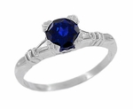 Art Deco Hearts and Clovers Blue Sapphire Solitaire Ring in Sterling Silver