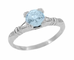 Art Deco Hearts and Clovers Sky Blue Topaz Solitaire Engagement Ring in Sterling Silver