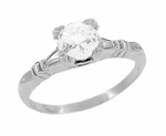 Art Deco Hearts and Clovers White Topaz Solitaire Engagement Ring in Sterling Silver