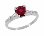Art Deco Hearts and Clovers Solitaire Ruby Promise Ring in Sterling Silver