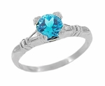 Art Deco Hearts and Clovers Swiss Blue Topaz Engagement Ring in Sterling Silver