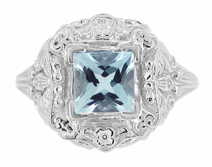 Art Nouveau Ring with Princess Cut Aquamarine in 14K White Gold - Item R615 - Image 4