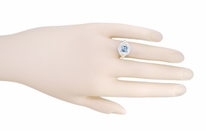 Art Nouveau Ring with Princess Cut Aquamarine in 14K White Gold - Item R615 - Image 5