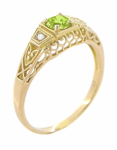 Art Deco Peridot and Diamond Filigree Ring in 14 Karat Yellow Gold - Click to enlarge
