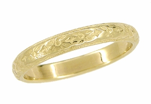 Art Deco Vintage Wedding Flowers Band Design in 14 Karat Yellow Gold - Click to enlarge