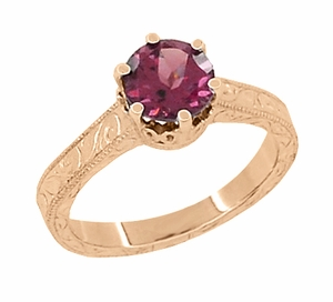 Art Deco Crown Filigree Scrolls 1.5 Carat Rhodolite Garnet Engagement Ring in 14 Karat Rose ( Pink ) Gold - Click to enlarge