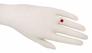 Art Deco Crown Filigree Scrolls 1.5 Carat Rhodolite Garnet Engagement Ring in 14 Karat Rose ( Pink ) Gold - Item R199RG - Image 5