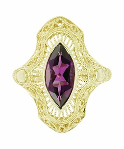 Art Deco Amethyst Filigree Cocktail Ring in 14 Karat Gold - Item RV125A - Image 1